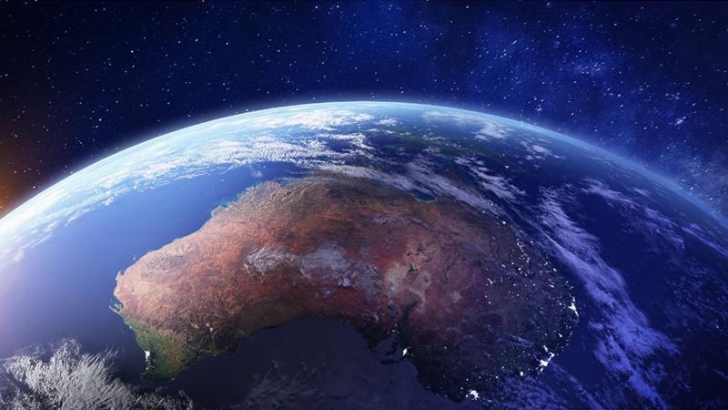 Planeta Terra visto de cima com céu azul