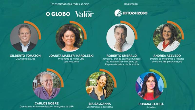 Divulgação da transmissão do webinar do Fundo JBS pela Amazônia que contou com a participação de palestrantes e mediação de Rosana Jatobá
